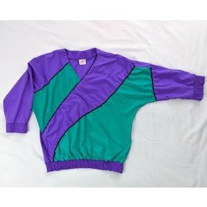 Vintage Purple Green Colorblock 80's Stripes Top